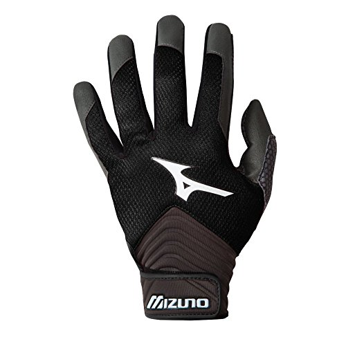 Mizuno MVP Youth Baseball Batting Gloves - Black (Youth XX-Small) (88 Youth Baseball Bat)