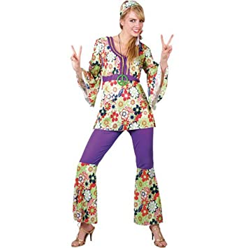 57103ef5f2aa Image Unavailable. Image not available for. Colour  Ladies Hippie Chick Costume  Hippy ...