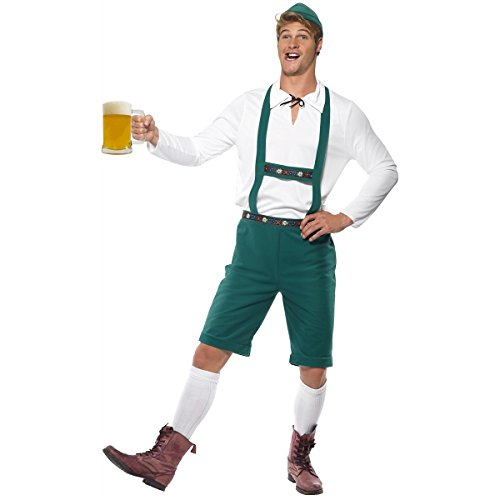 Smiffy's Men's Oktoberfest Costume, Lederhosen Shorts with suspenders, Top and Hat, Around the World, Serious Fun, Size XL, 39497 (Hats From Around The World)