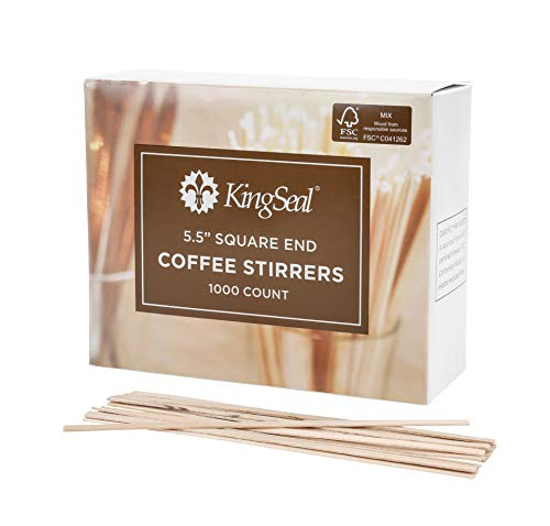 FSC Certified Sustainably Sourced Birch Wood Coffee Stirrers, 5.5 Inch, Square End, Biodegradable and Compostable - 10 Packs of 1000 Stirrers per Case (10,000 pcs total)