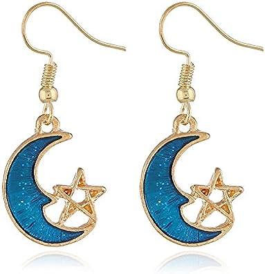 SADASD arete gota para el oído Los aretes azules, China, Japón y Corea, sortijas Blue Moon simple symmetric girls wild crescent ear tornillos