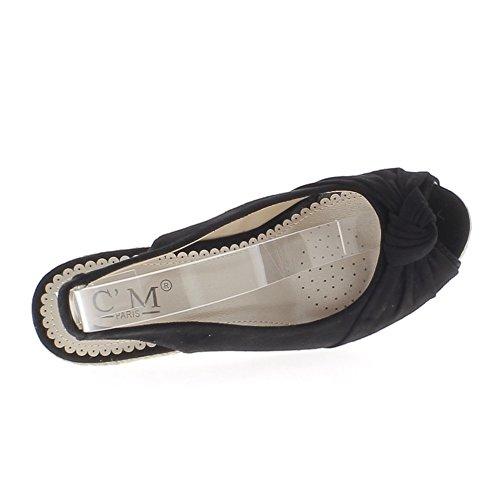 Espadrilles sandales femme compensées noires à talons de 10cm aspect daim