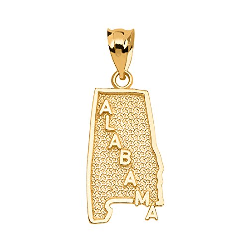 (Alabama State Map Charm Pendant in 14k Yellow Gold)
