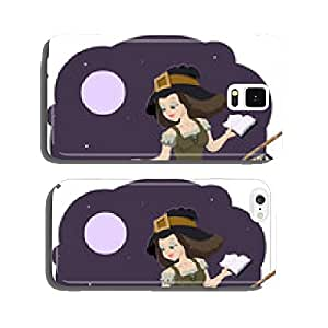 Beautiful young witch broom with cat cell phone cover case iPhone6