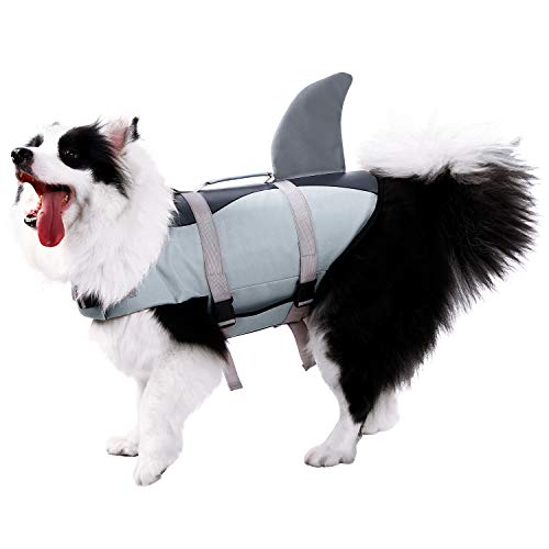 Phyxin Dog Life Jacket Adjustable Dog Lifesaver Safety Floatation Vest Pet Life Jackets for Dogs with Rescue Handle M