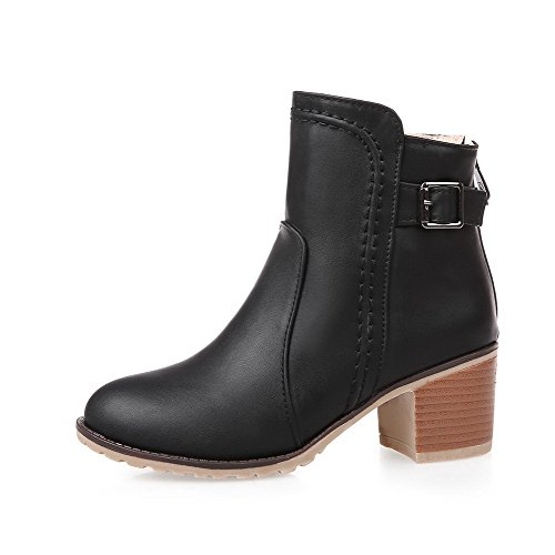Zipper Material Solid Kitten Toe Women's Round Black Closed Boots Soft Heels AmoonyFashion xSnaw8qFEn