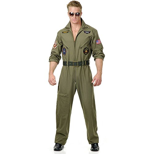Men's Wingman Flight Jumpsuit And Belt, Olive Green - XS to 3XL