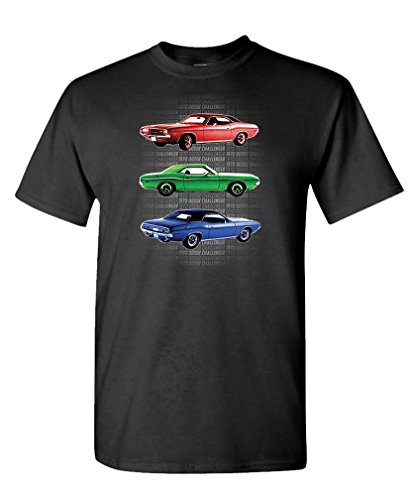 1970 Dodge Challengers - Officially Licensed - Cotton T-Shirt, L, Black USA Made