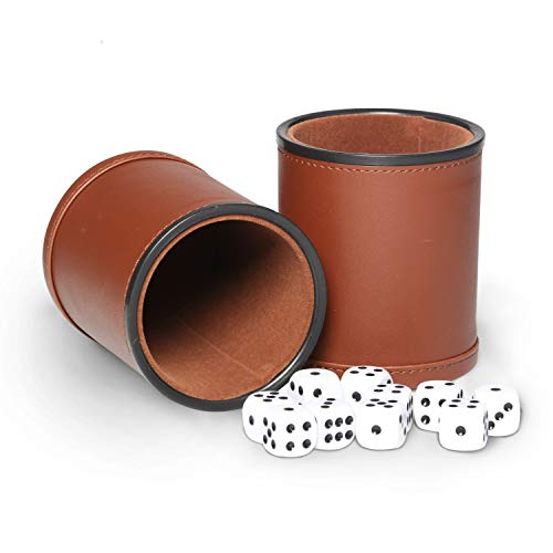 Dice Game Set,Felt- Lined Leather Cup with 5 Standard Sized Dot Dices for Farkle Yahtzee Family Dice Games Night(Brown,2 Pack)