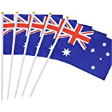 25 Pack Hand Held Small Mini Flag Australia Flag Australian Stick Flag Round Top National Country Flags,Party…
