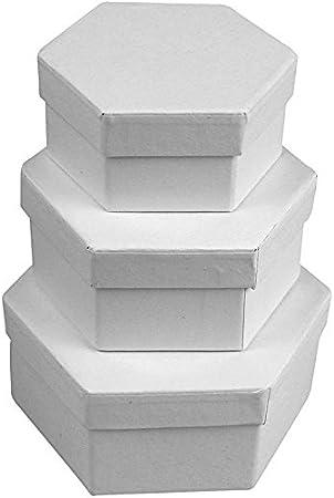 3-piezas hexagonal juego de caja de cartón blanco: Amazon.es: Hogar