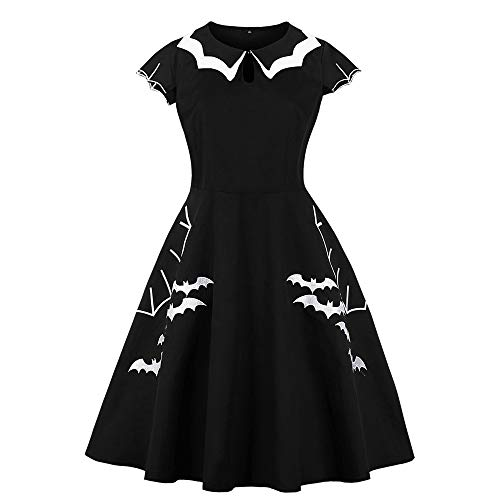 TOOPOOT Halloween DressesCasual Short Sleeve Doll Collar Dress Printed Bat Vintage Evening Party Collar Work Office Dress