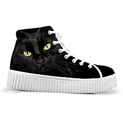 Coloranimal Cool 3D Cat Women High Top Walking Shoes Clasual Height Increasing Platform Walking Sneakers US6