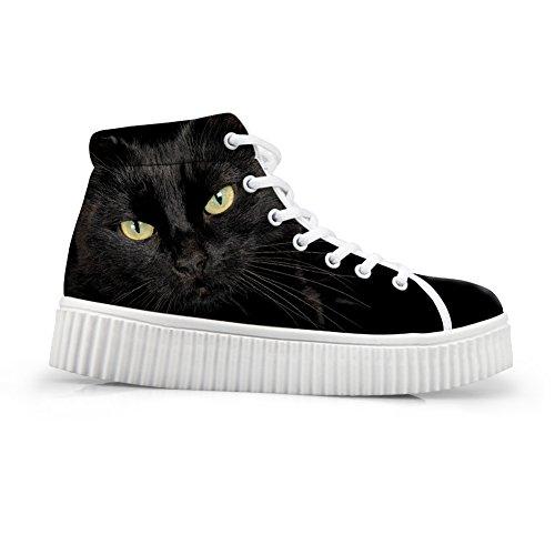 Knuffels Idee Schattige Dieren Afdrukken Platform Schoenen Mode Sneakers Zwarte Kat