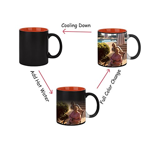 - Customized Color Changing Mug Gift- Ceramic Colored Inside Black Mug Heat Changing Coffee Cup with Personalized Photo Cup & Spoon Set