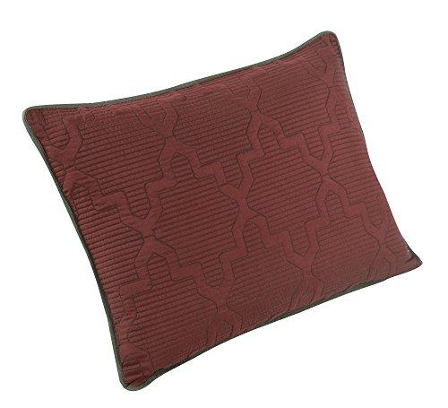 Brielle Casablanca, Reversible Standard Sham Set, Russet Red/Dark Grey (Pillow Quilted Shells)