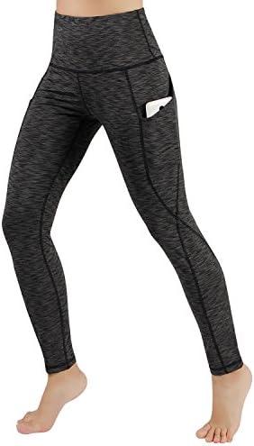 ododos Cintura Alta fuera bolsillo Yoga Capris Pantalones Tummy Control Workout Running 4Way Stretch Yoga Capris Leggings