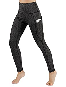 ODODOS High Waist Out Pocket Yoga Pants Tummy Control Workout Running 4 way Stretch Yoga Leggings,SpaceDyeCharcoal,Medium