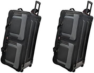 TWO PCS Amaro 36 Inch 1200d Explorer Rolling Duffle Bag V.2 BLACK