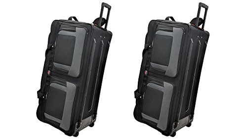 TWO PCS Amaro 36 Inch 1200d Explorer Rolling Duffle Bag V.2 (BLACK)