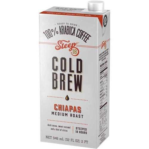 Steep 18 Organic Chiapas Medium Roast Cold Brew Coffee, 32 Fluid Ounce -- 6 per case.
