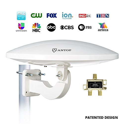 Outdoor Amplified TV Antenna,Antop UFO 65 Mile HDTV Attic/RV/Roof TV Antenna for VHF/UHF with Omni-directional 360 Degree Reception,Anti-UV Coating,Signal Splitter for 2 TVs