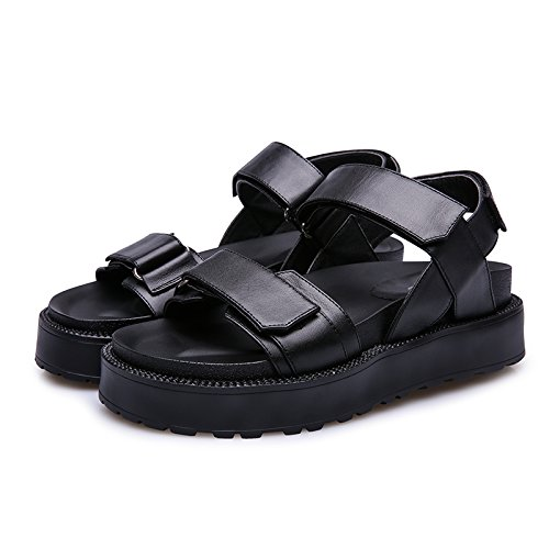 Xing Lin Ladies Sandals Summer Sports Shoes And Sandals At The End Of Flat-Bottom Velcro Beach Shoes Black 5Gjq5In