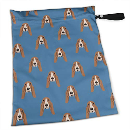 YyTiin Reusable Snack and Everything Bags - Dark Blue Pattern of Hound,Large