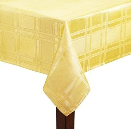 Stain Resistant Solid Microfiber Checkered Tablecloth (52u0026quot; X 70u0026quot;,  Yellow)