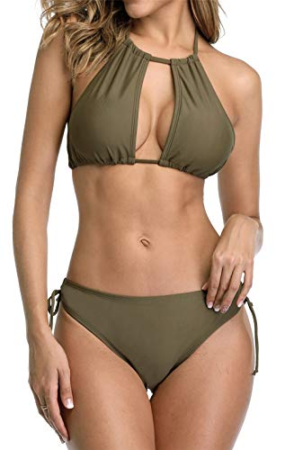 (beautyin Womens Plunging Halter Two Piece Bikini Padded Swimming Suit)