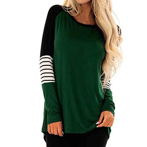 Stripe MuSheng Top Longues S V Lache Blouse TM Shirt nbsp;Mode VertB Gris Femmes Dames Manches Casual T Neck Top rHCrwqt