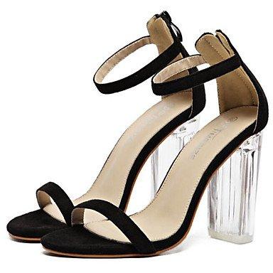 Zapatos Negro Informales Verano De Para Talón Chunky FSCHOOLY Confort Primavera De Womens Almendra Negro Nubuck De Sandalias Cuero 5qn8awO