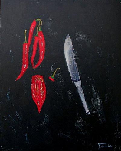 Kitchen painting black red decor Minimalist food art Kitchen decal original artwork - Signature Decal Set
