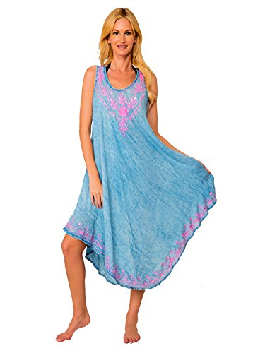 INGEAR Women's Casual Sun Dress Dresses Summer Beach Slip Sundress and Bathing Suit Cover Up (Embroidered Denim)