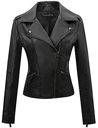 Tanming Women's Zip up Faux Leather PU Jacket Outerwear (X-Small, Black10)