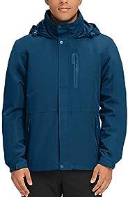 Men's Waterproof Rain Jacket II with Hood Breathable Windbreaker for Outdoor Hiking Climbing