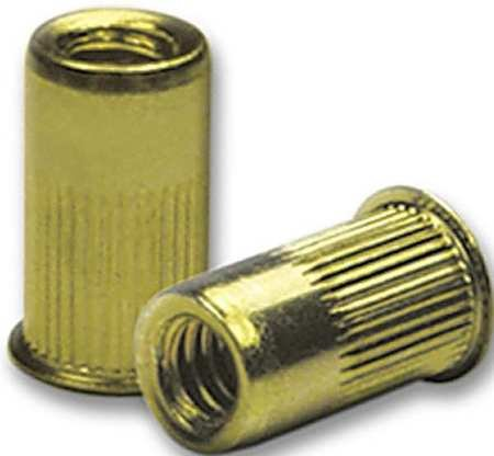 """#10-32, 0.130"""" to 0.225"""", Zinc Yellow Steel Knurled Flanged Rivet Nut, 50 pk."""