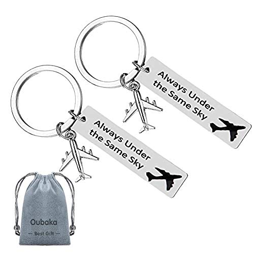 Long Distance Relationship Gifts,Couples Keychains Jewelry Gifts Always Under The Same Sky Key Chain Gift for Her Him Husband Wife Boyfriend Girlfriend