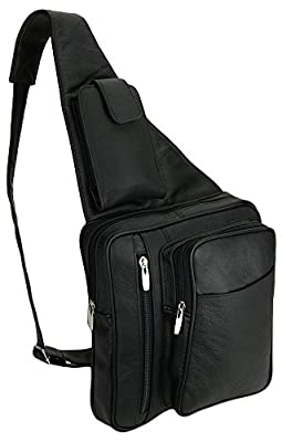 Mens Womens Black Cowhide Leather Crossbody IPAD Compatible Shoulder Sling Bag with Carabiner