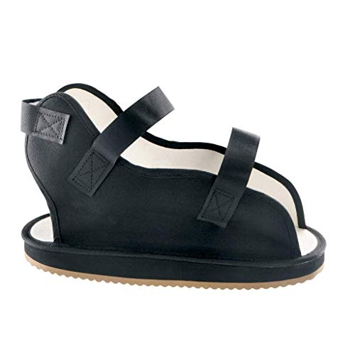 Ossur Canvas Rocker Bottom Cast Shoes - Premium Quality Maximum Post-Op Protection Contact Closure, Open Toe Sandal (Black, Large) ()