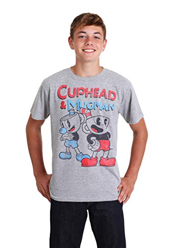 6bacbc3c Fifth Sun Boy's Cuphead Best Friend Mugman Heather Gray T-Shirt Large