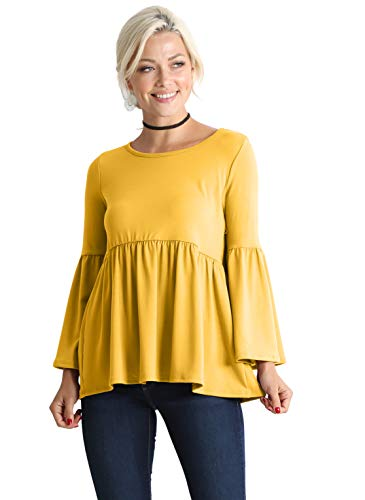 (Mustard Yellow Tops for Women Ruffle Babydoll Tops for Women Maternity Long Sleeve Peplum Mustard Shirt Women (Size Medium US 4-6, Mustard))