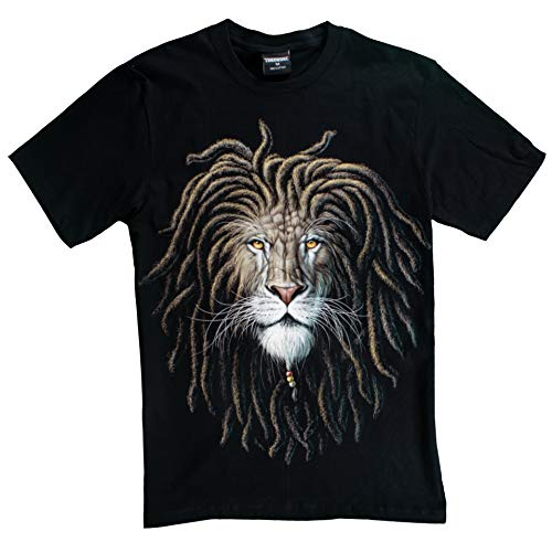 Tee Lion Face - T-Shirt Sale 3D Glow in Dark Animal for Man Unisex (Small, Lion with Dreadlock)