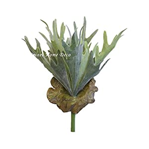 Sweet Home Deco 13'' Plastic Flocked Staghorn Fern Artificial Green Bush 60