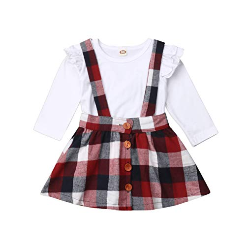 Toddler Baby Girl Infant Plain T Shirts Plaid Overall Skirt Set Cotton Outfits (White+Burgendy, 12-24 Months) ()