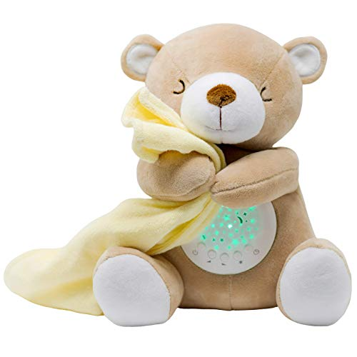 TickleDrops Teddy Sound Soother, Star Projector, Night Light, Plush Teddy Gift for Babies, Toddlers with lullabies and White Noise Options, Teddy Bear Sleep Soother, Sleep Therapy