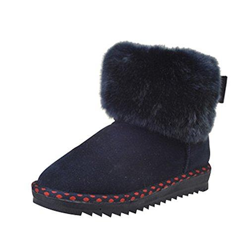 Optimala Kvinnor Vinter Snö Stövlar Helt Päls Fodrade Varma Boots Med Dekorativa Rosetter Sladda Resistenta Blå Aa