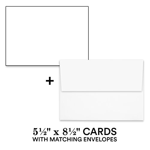 Hamilco White Cardstock Thick Paper - 5 1/2 x 8 1/2'' Blank Index Flash Note & Post Cards with Envelopes - Greeting Invitations Stationary – Heavy Weight 80 lb Card Stock for Printer - 100 Pack by Hamilco