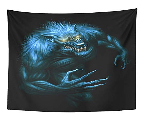 Emvency Tapestry Artwork Wall Hanging Beast Werewolf with Glowing Eyes on The Dark Digital Painting Fantasy Monster 60x80 Inches Tapestries Mattress Tablecloth Curtain Home Decor Print]()