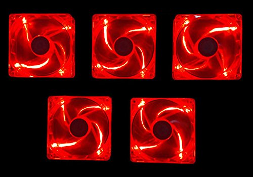 Apevia AF58L-RD 80mm 4pin Silent Red LED Case Fan - Connect to Power Supply (5-pk) by Apevia